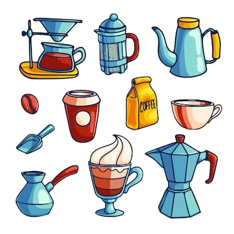 Verzameling koffiezetapparaten en artikelen