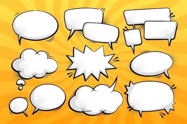 Verzameling komische chatbellen