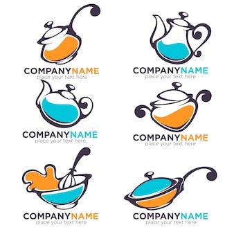 Verzameling kookgerei en voedsel symbolen en logo