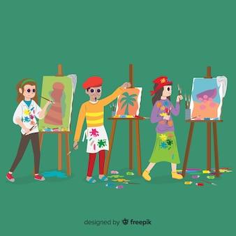 Verzameling kunstenaars die hun werk doen