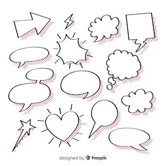 Verzameling lege tekstballonnen voor strips