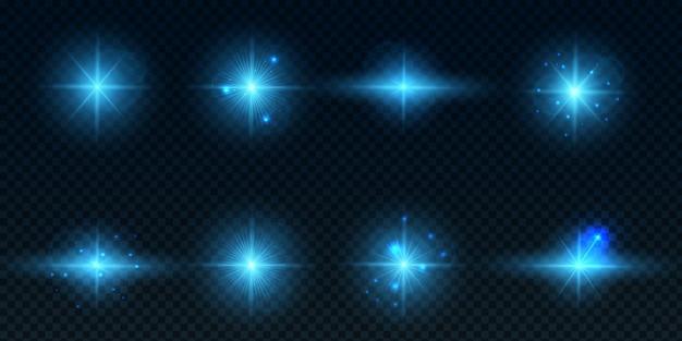 Verzameling lensfakkels met blauwe lenzen Premium Vector
