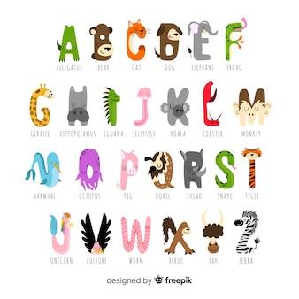 Verzameling letters met schattige dieren