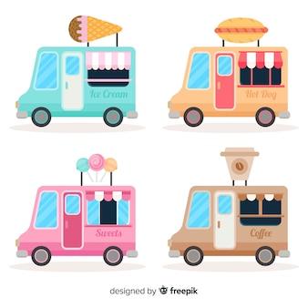 Verzameling levensmiddelenwagens