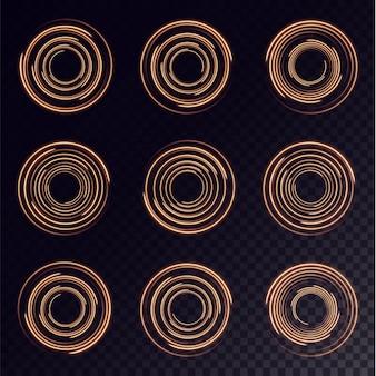Verzameling lichtgele halftoonlijnen radiaal goud vector lijnen van snelheid vectorillustratie