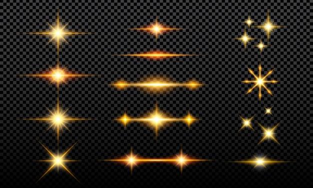 Verzameling lichtgevende glittereffecten