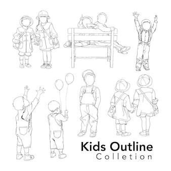 Verzameling lijntekeningen voor kinderen