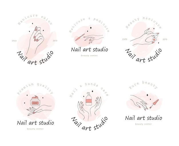 Verzameling logo-ontwerp voor nail art studio.