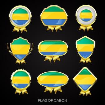 Verzameling luxe gouden vlag badges van gabon