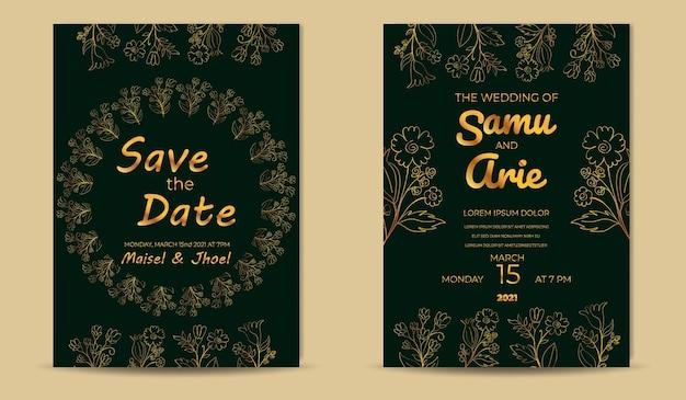 Verzameling luxe huwelijksuitnodigingen