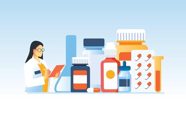 Verzameling medicijnflessen met vrouwelijke arts is goed voor de apotheekwebsite