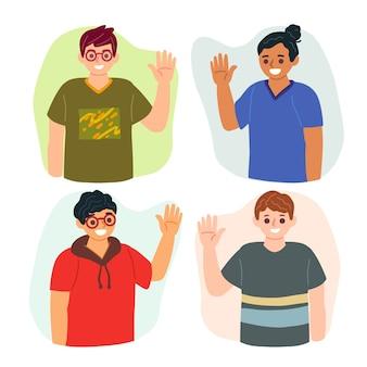 Verzameling mensen zwaaiende hand