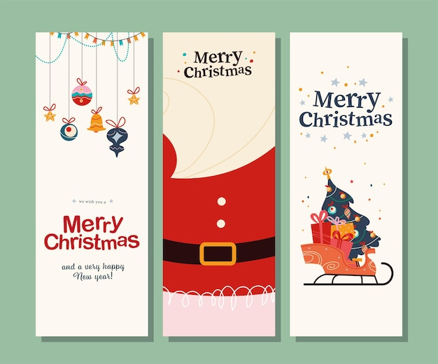 Verzameling merry christmas felicitatiekaarten met tekstgroet, kerstmankostuum, baard, kerstspeelgoed, slee vol geschenken en dennenboom. vectorillustratie platte cartoon. uitnodiging, spandoek.