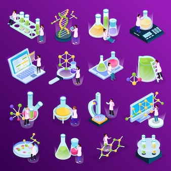Verzameling met wetenschappelijk onderzoek isometrische gloed iconen met kleurrijke vloeistoffen in computers met glazen buizen en moleculen