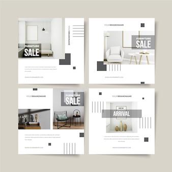 Verzameling meubelverkoopposten met foto