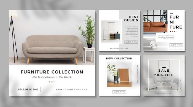 Verzameling meubelverkoopposts met foto's