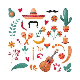 Verzameling mexicaanse elementen.
