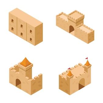 Verzameling middeleeuwse kasteelelementen iconen