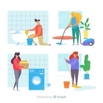 Verzameling minimalistische personages die huishoudelijk werk doen