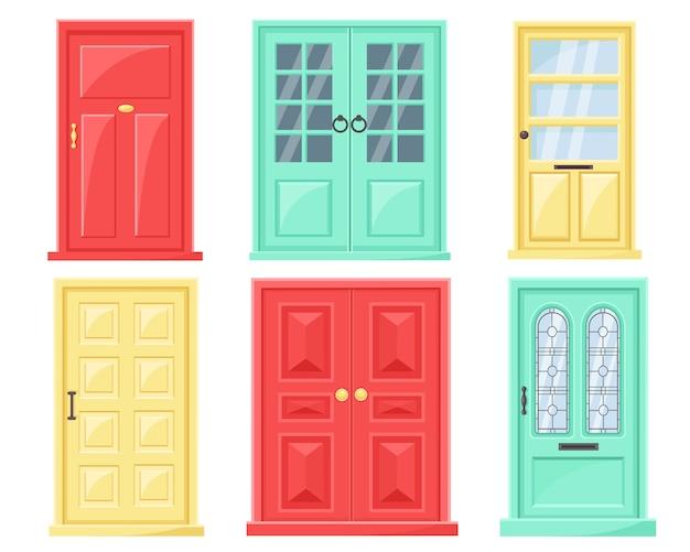 Verzameling moderne deuren met glazen ramen.