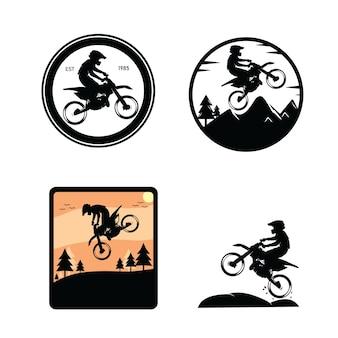 Verzameling motorcross silhouetten