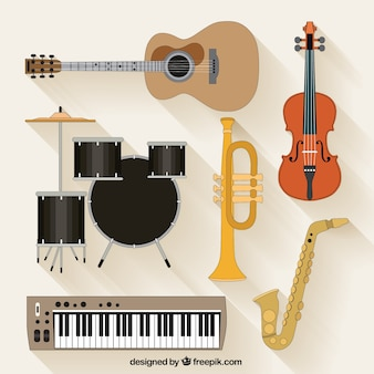 Verzameling muziek instrumenten