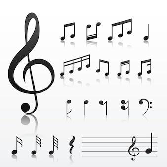 Verzameling muziek notitiesymbolen