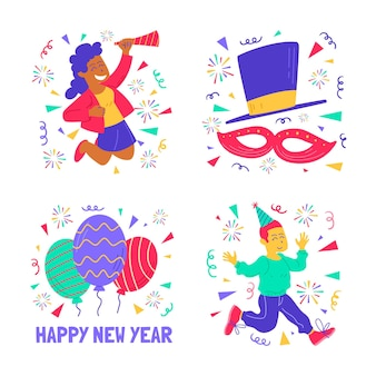 Verzameling nieuwjaarsfeeststickers met kleurrijke elementen