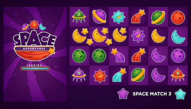 Verzameling objecten en elemanten voor je match 3 mobiele game