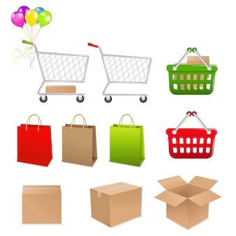 Verzameling om te winkelen uit mandje dozen en pakketten