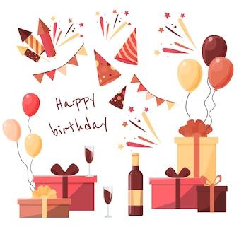 Verzameling ontwerpelementen voor feesten en vieringen. feestelijke gebeurtenis en showpictogrammen. verjaardag- en jubileumobjecten. met vuurwerk, cadeautjes, drankjes,