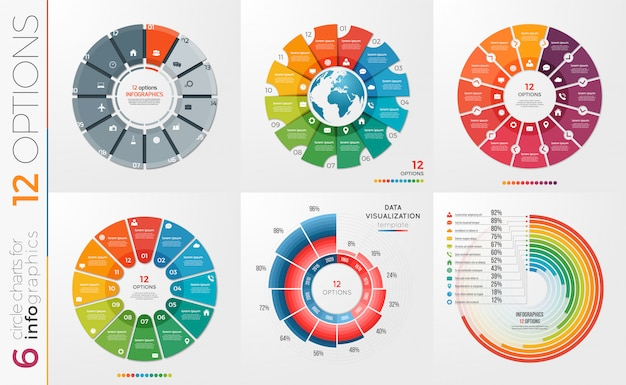 Verzameling opties voor cirkelgrafieksjablonen.