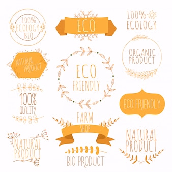 Verzameling oranje labels en badges voor biologische, natuurlijke, bio- en milieuvriendelijke producten. vintage vector, groene kleuren.