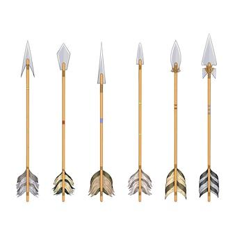 Verzameling pijlen van indianen voor jacht en oorlog