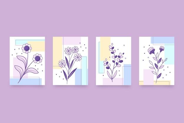 Verzameling platte bloemenkaarten cards
