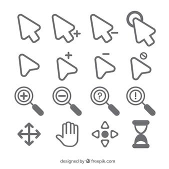 Verzameling platte cursor