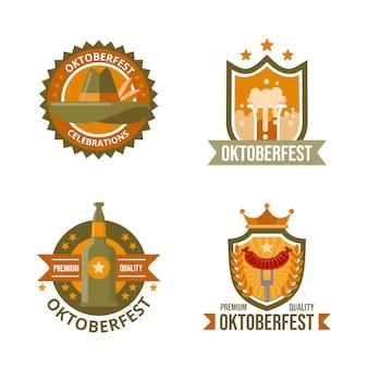 Verzameling platte oktoberfest-badges