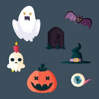 Verzameling platte ontwerp halloween elementen