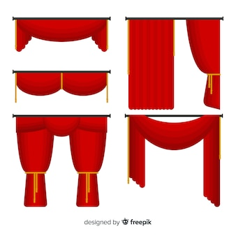 Verzameling platte rode gordijnen