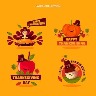 Verzameling platte thanksgiving-labels