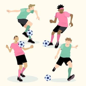 Verzameling platte voetballers