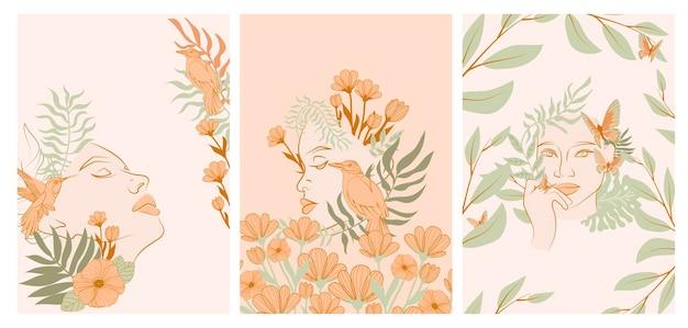 Verzameling posters met mooie vrouw gezicht portret met planten en bloemen in één lijnstijl. bloeiende abstracte vrouwen. minimalistische stijl.