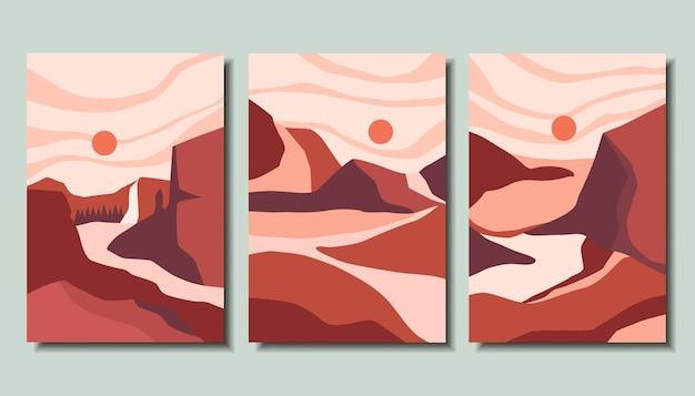 Verzameling posters met prachtige landschappen-abstractie