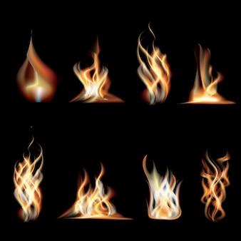 Verzameling realistische brandende vuurvlammen