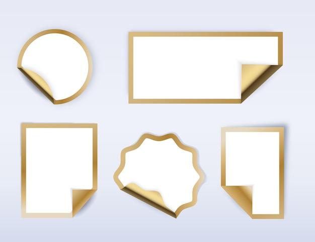 Verzameling realistische papieren stickers