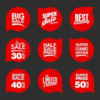 Verzameling rode verkoopstickers en -tags