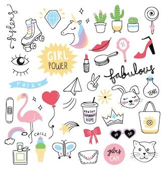 Verzameling schattig meisje dingen in doodle stijl
