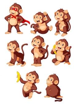 Verzameling schattige aap cartoon superheld kostuum dragen