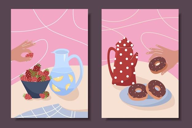 Verzameling schattige posters met stilleven thee koffie gebak donuts