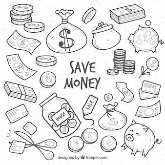 Verzameling schetsen van elementen met betrekking tot geld